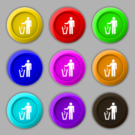 scrunched: throw away the trash icon sign. symbol on nine round colourful buttons. illustration