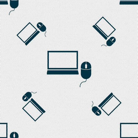 widescreen: Computer widescreen monitor, mouse sign ico. Seamless pattern with geometric texture. illustration Stock Photo