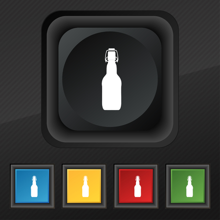 alcohol series: bottle icon symbol. Set of five colorful, stylish buttons on black texture for your design. illustration