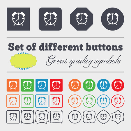 wake up call: Alarm clock sign icon. Wake up alarm symbol. Big set of colorful, diverse, high-quality buttons. illustration
