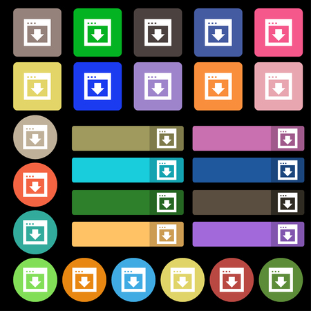 down load: Arrow down, Download, Load, Backup icon sign. Set from twenty seven multicolored flat buttons. illustration