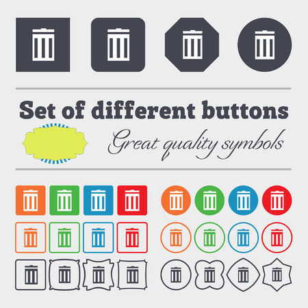 big bin: Recycle bin sign icon. Symbol. Big set of colorful, diverse, high-quality buttons. illustration