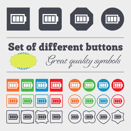 fully: Battery fully charged sign icon. Electricity symbol. Big set of colorful, diverse, high-quality buttons. illustration