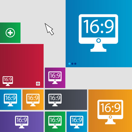 the ratio: Aspect ratio 16:9 widescreen tv icon sign. Metro style buttons. Modern interface website buttons with cursor pointer. illustration