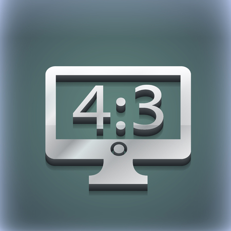 4 3 display: Aspect ratio 4 3 widescreen tv icon symbol. 3D style. Trendy, modern design with space for your text illustration. Raster version