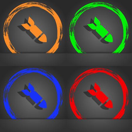 ballistic missile: Missile,Rocket weapon icon symbol. Fashionable modern style. In the orange, green, blue, green design. illustration Stock Photo