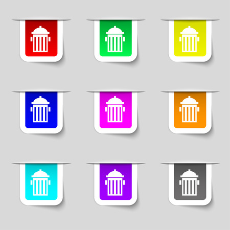 hydrant plug: fire hydrant icon sign. Set of multicolored modern labels for your design. illustration