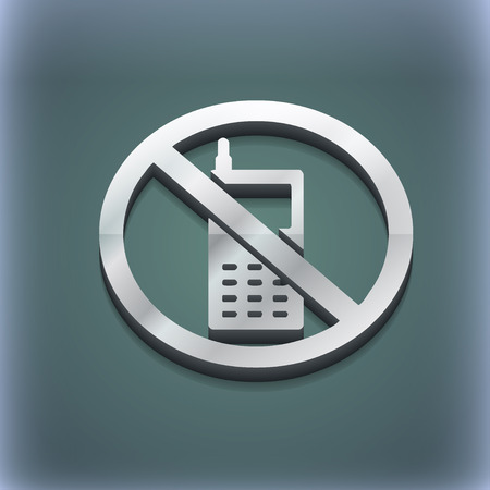 refrain: mobile phone is prohibited icon symbol. 3D style. Trendy, modern design with space for your text illustration. Raster version