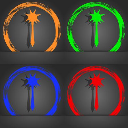 battle evil: Mace icon symbol. Fashionable modern style. In the orange, green, blue, green design. illustration