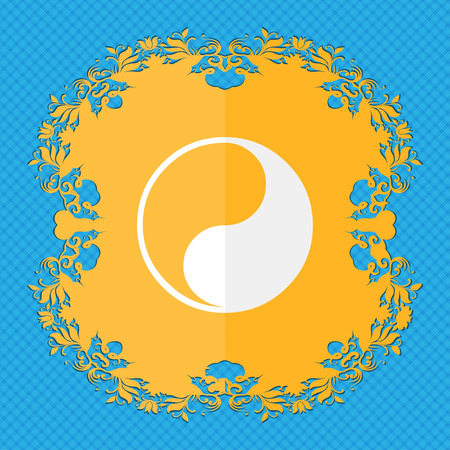 karma concept: Yin Yang. Floral flat design on a blue abstract background with place for your text. illustration