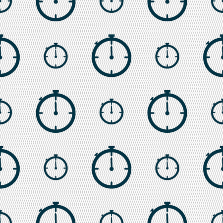 interval: Timer sign icon. Stopwatch symbol.. Seamless abstract background with geometric shapes. illustration