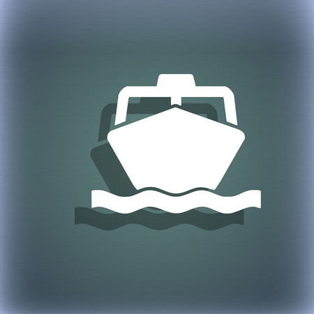 inflate boat: the boat icon symbol on the blue-green abstract background with shadow and space for your text. illustration