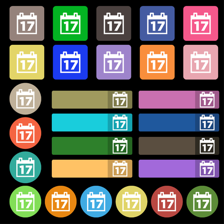 reminder icon: Calendar, Date or event reminder icon sign. Set from twenty seven multicolored flat buttons. illustration