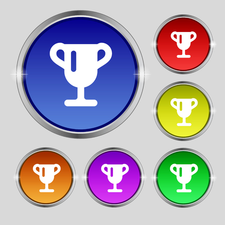 awarding: Winner cup, Awarding of winners, Trophy icon sign. Round symbol on bright colourful buttons. illustration