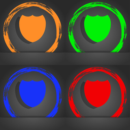 security token: Shield sign icon. Protection symbol. Fashionable modern style. In the orange, green, blue, red design. illustration
