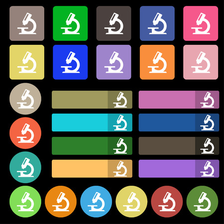 equipment experiment: microscope icon sign. Set from twenty seven multicolored flat buttons. illustration