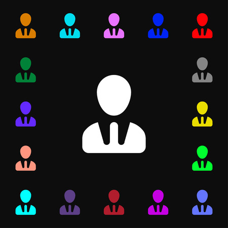 human figure: male silhouette icon sign. Lots of colorful symbols for your design. illustration