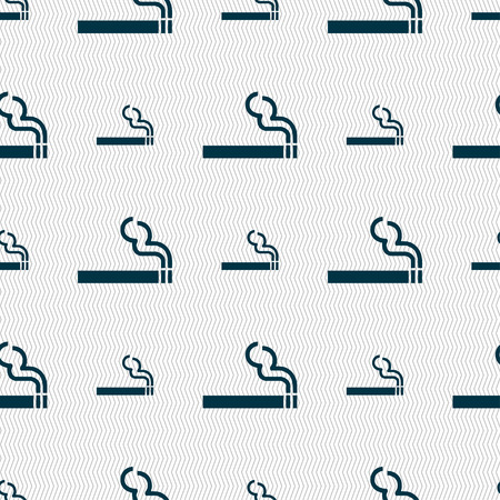 smoldering cigarette: cigarette smoke icon sign. Seamless pattern with geometric texture. illustration Stock Photo