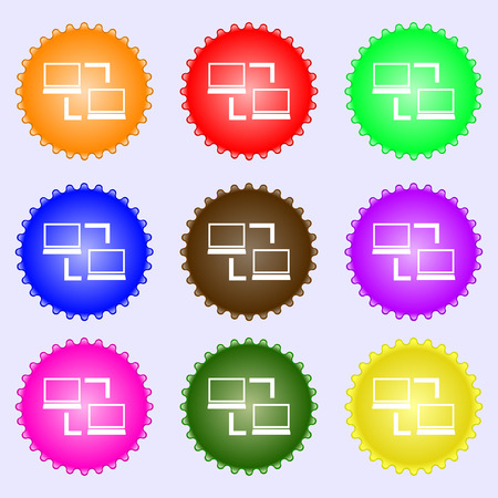 synchronization: Synchronization sign icon. Notebooks sync symbol. Data exchange. A set of nine different colored labels. illustration