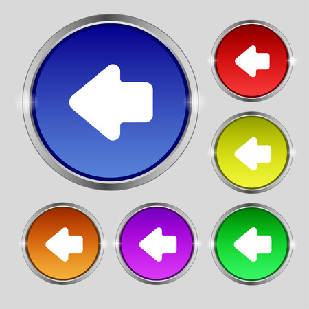 way out: Arrow left, Way out icon sign. Round symbol on bright colourful buttons. illustration Stock Photo