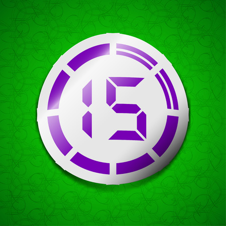 corner clock: 15 second stopwatch icon sign. Symbol chic colored sticky label on green background. illustration