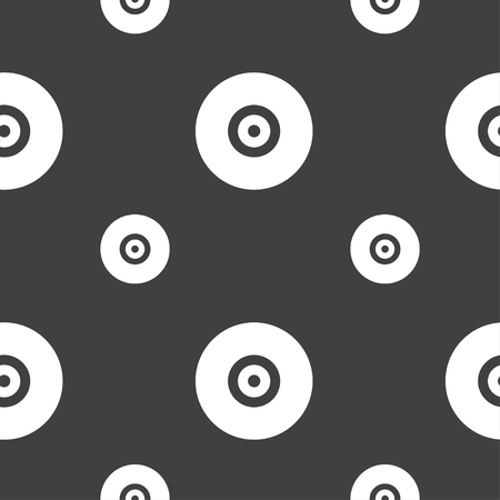 cdr: CD or DVD icon sign. Seamless pattern on a gray background. illustration