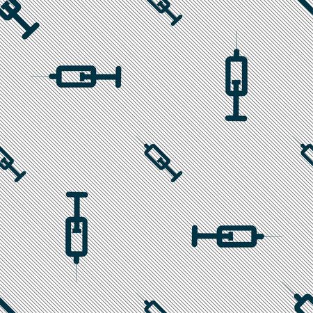 syringe icon sign. Seamless pattern with geometric texture. illustration Stock Photo