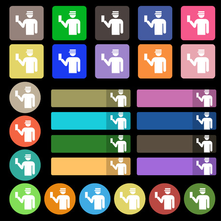 inspector: Inspector icon sign. Set from twenty seven multicolored flat buttons. illustration Stock Photo