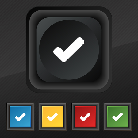 verify: Check mark, tik icon symbol. Set of five colorful, stylish buttons on black texture for your design. illustration Stock Photo