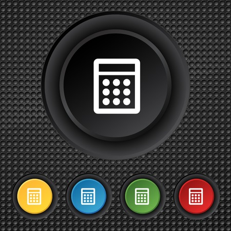 calc: Calculator sign icon. Bookkeeping symbol. Set colour buttons. illustration
