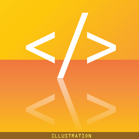 programming code: Programming code icon symbol Flat modern web design with reflection and space for your text. illustration. Raster version