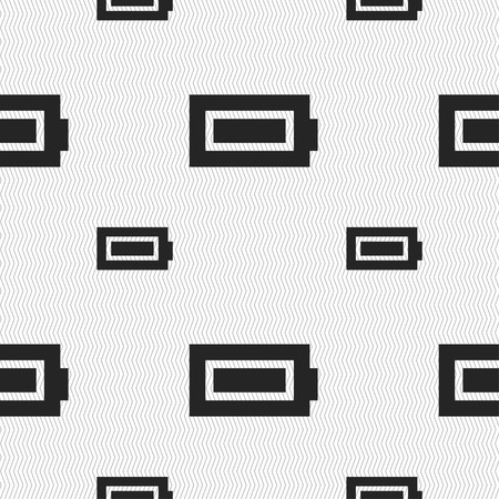 fully: Battery fully charged icon sign. Seamless pattern with geometric texture. illustration Stock Photo