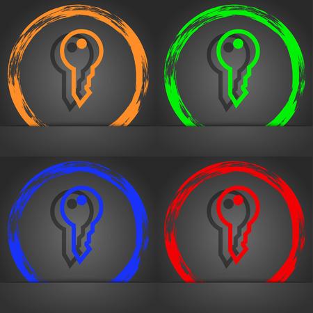 latchkey: Key icon symbol. Fashionable modern style. In the orange, green, blue, green design. illustration