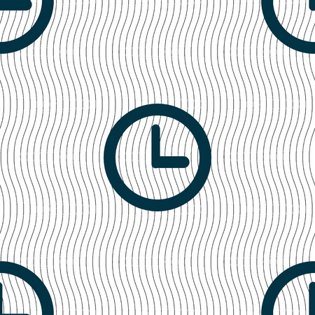 mechanical texture: Clock sign icon. Mechanical clock symbol. Seamless pattern with geometric texture. illustration Stock Photo
