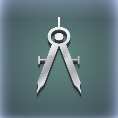 Mathematical Compass icon symbol. 3D style. Trendy, modern design with space for your text illustration. Raster version