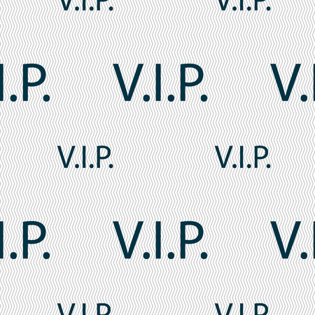 very important person: Vip sign icon. Membership symbol. Very important person. Seamless pattern with geometric texture. illustration Stock Photo