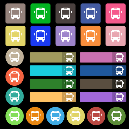 tourists stop: Bus icon sign. Set from twenty seven multicolored flat buttons. illustration Stock Photo
