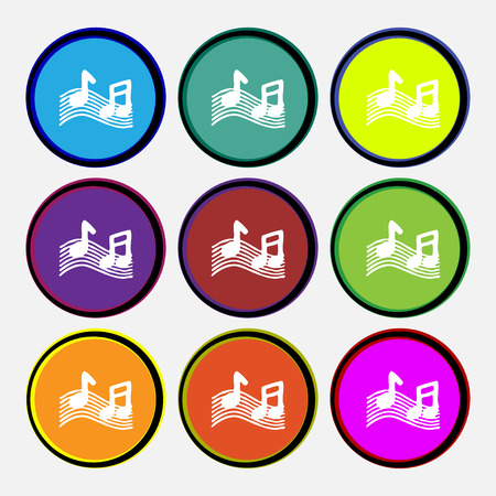 accord: musical note, music, ringtone icon sign. Nine multi colored round buttons. illustration
