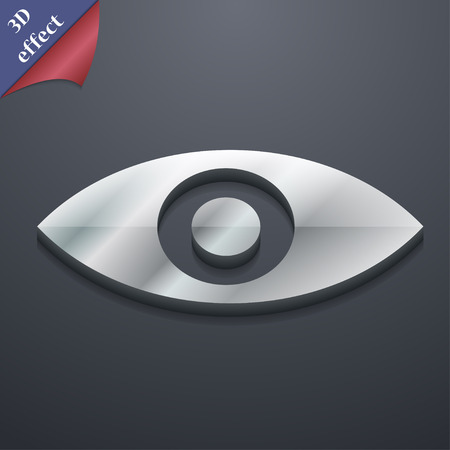 the sixth sense: Eye, Publish content, sixth sense, intuition icon symbol. 3D style. Trendy, modern design with space for your text illustration. Rastrized copy Stock Photo