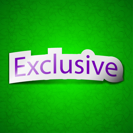 exclusive icon: Exclusive icon sign. Symbol chic colored sticky label on green background. illustration Stock Photo