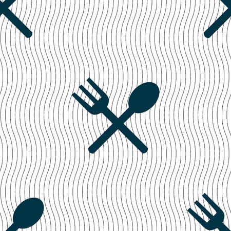 crosswise: Fork and spoon crosswise, Cutlery, Eat icon sign. Seamless pattern with geometric texture. illustration