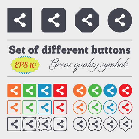 regular tetragon: Share icon sign Big set of colorful, diverse, high-quality buttons. illustration