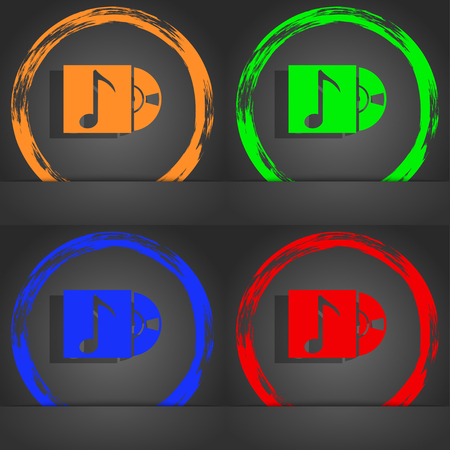 cd player: cd player icon sign. Fashionable modern style. In the orange, green, blue, red design. illustration