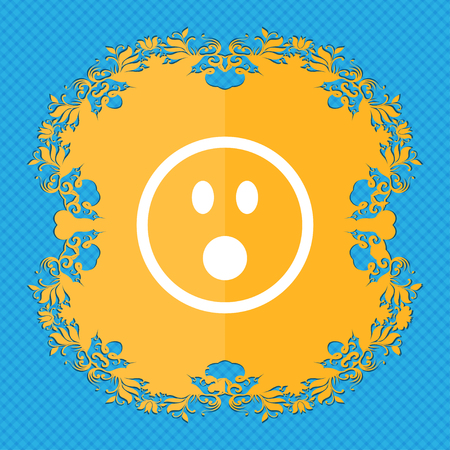 satisfied expression: Shocked Face Smiley . Floral flat design on a blue abstract background with place for your text. illustration