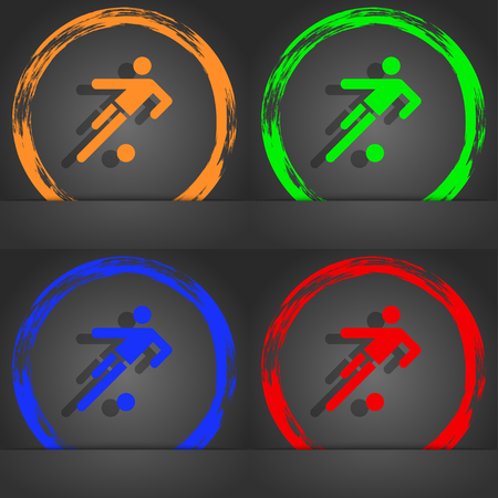 linesman: football player icon. Fashionable modern style. In the orange, green, blue, red design. illustration