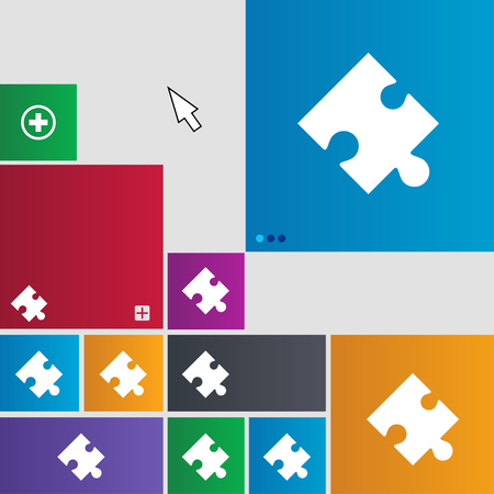 conundrum: Puzzle piece icon sign. Metro style buttons. Modern interface website buttons with cursor pointer. illustration