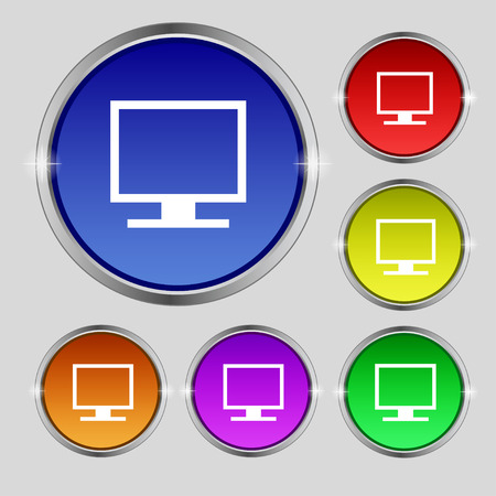 widescreen: Computer widescreen monitor icon sign. Round symbol on bright colourful buttons. illustration Stock Photo