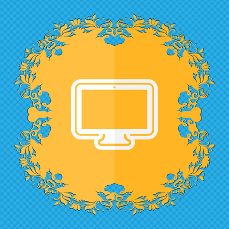 oled: monitor. Floral flat design on a blue abstract background with place for your text. illustration Stock Photo