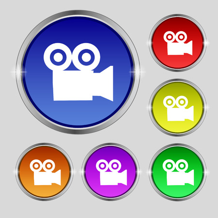 journalistic: video camera icon sign. Round symbol on bright colourful buttons. illustration Stock Photo