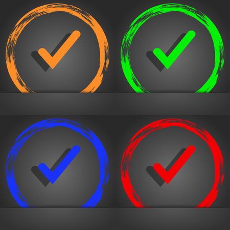 Check mark, tik icon symbol. Fashionable modern style. In the orange, green, blue, green design. illustration